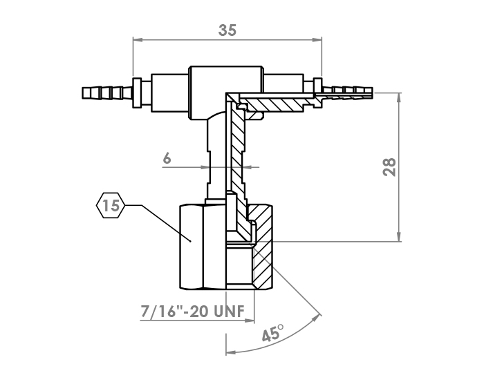 T Fitting for DN2 capillary hose with nut 1/4